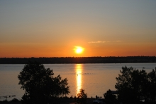 Beautiful sunrise over Cherry Creek Reservoir