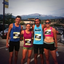 CRP Resident Triathletes after the Panerathon. Great view of Pikes Peak in the background.