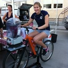 Riding the blender bike at a Colorado Springs Farmer's Market!
