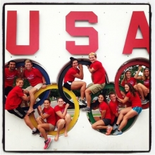 Campers posing in the Olympic Rings