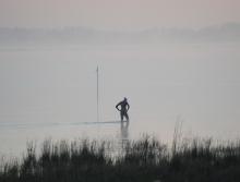 Starting the swim warmup in heavy fog