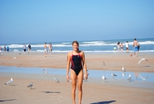 Celebrating a successful weekend at Daytona Beach with my parents! Yes, I did go play in the (freezing) water!