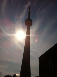 CN Tower as the sun starts to go down